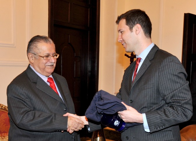 Exchange of gifts with Iraqi President Jalal Talabani