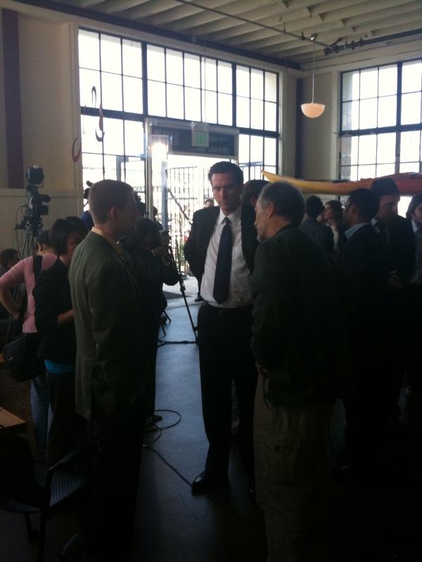 Gavin Newsom, Matt Mullenweg, and Tim O'Reilly at Automattic Lounge